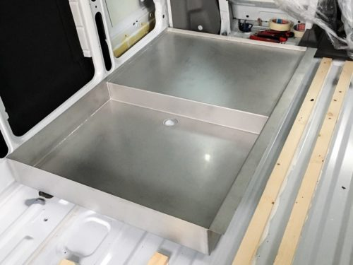 Shower tray made of stainless steel