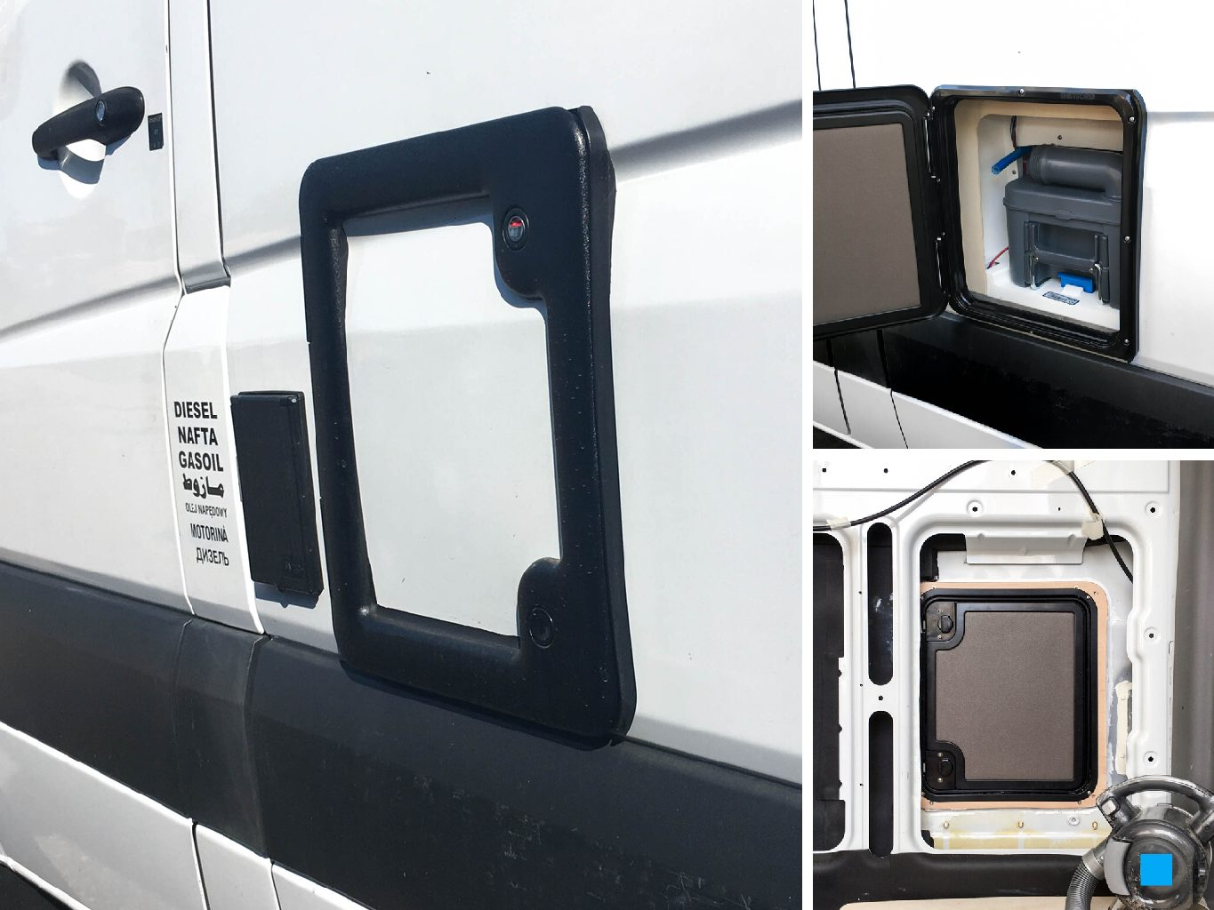 Installation of the Thetford Service Door Model 3