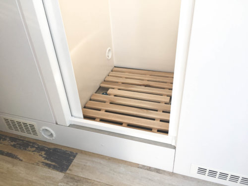 DIY teakwood Shower Grid for Campervan Shower