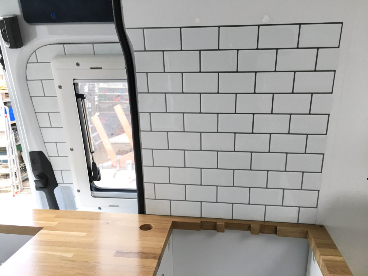 Backsplash with TicTacTiles in DIY Camper Kitchen